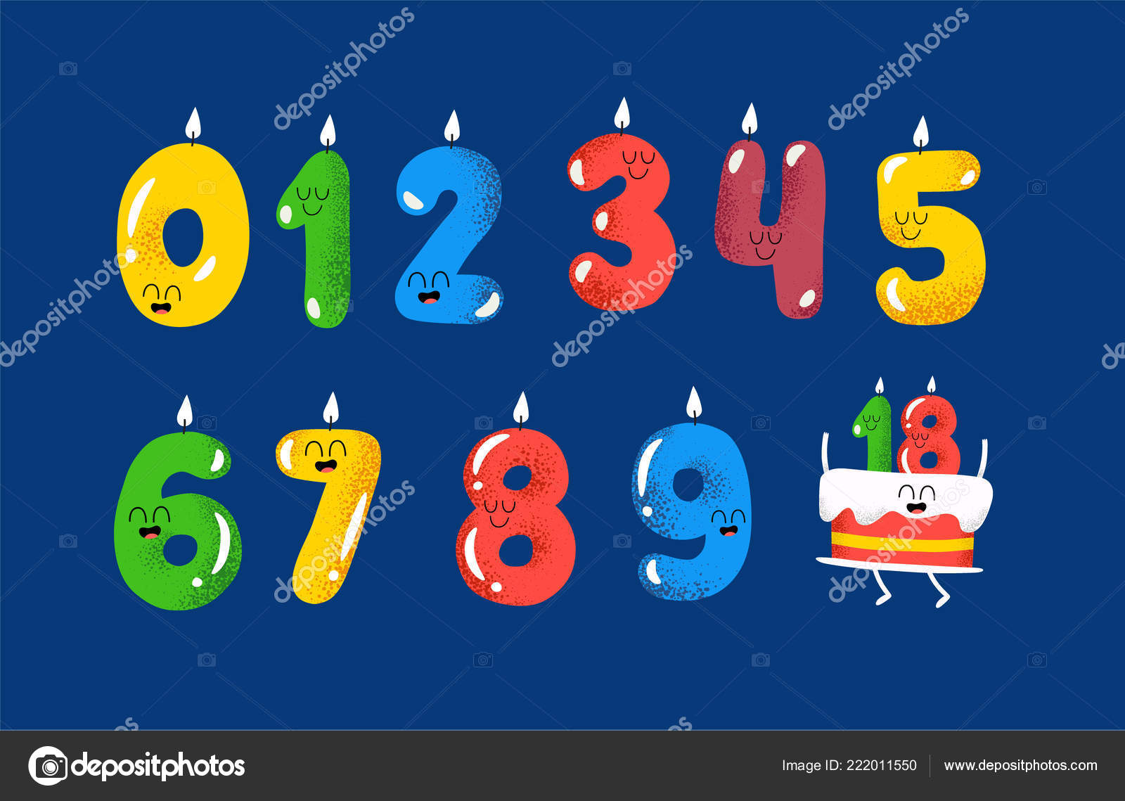 Colorful Birthday Candles Numbers And Happy Cake Stock Illustration