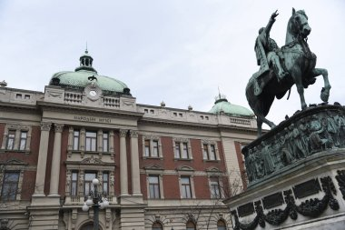 National museum and monument of Prince Mihajlo on the Republic square in Belgrade, Serbi