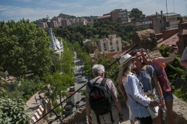 Tourists making selfie at Park Guell