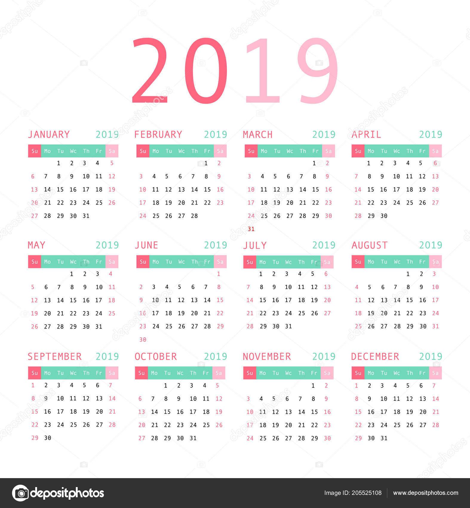 Calendario 2019 Con Numero Week.Calendar Template Design 2019 Week Starts Sunday Vector
