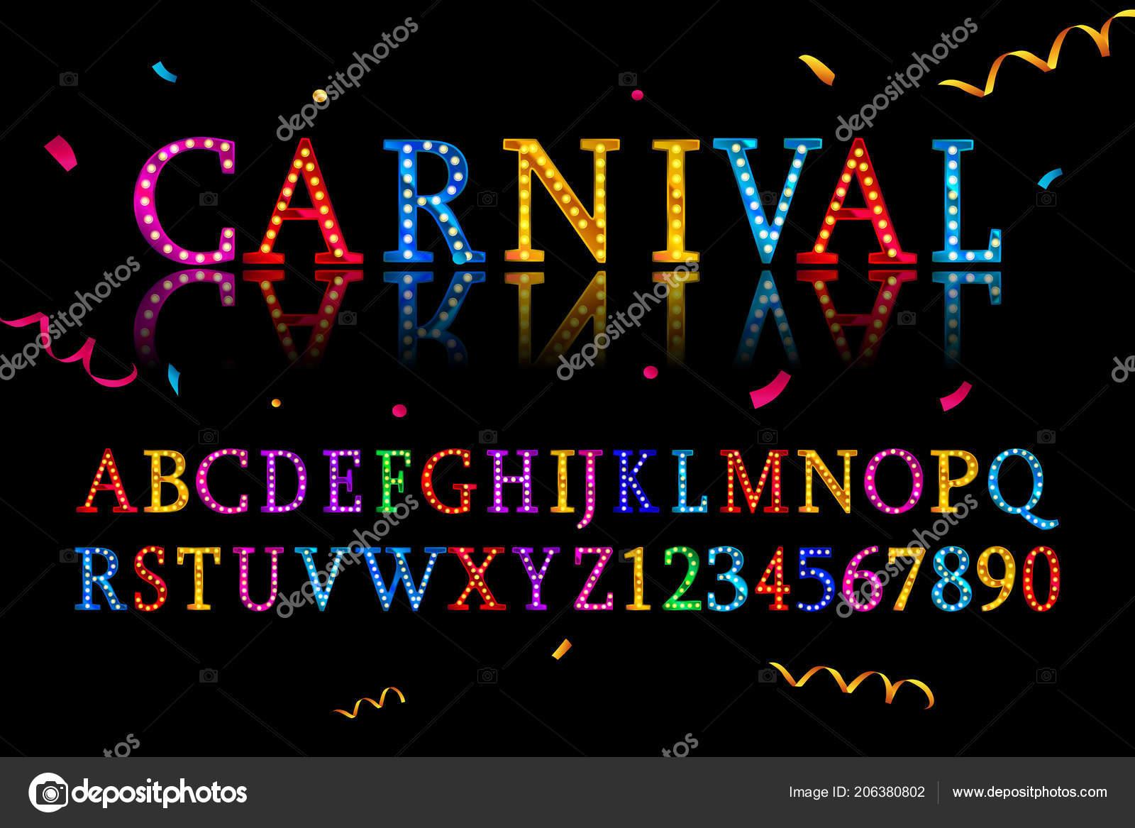 Vector Vintage Carnival Font Alphabet Eps Stock Vector