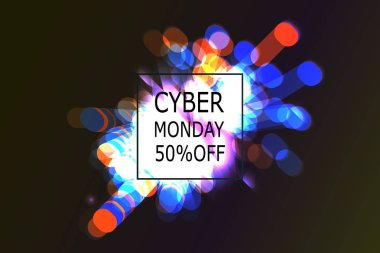 Cyber Monday Sale label. Promotional banner template with lettering composition and light rays. cyber Monday discount fireworks, Vector illustration