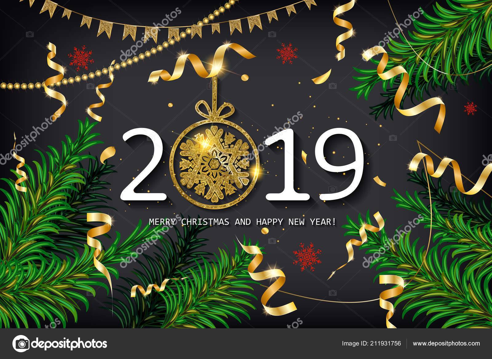 2019 happy new year background fir branches confetti christmas greeting stock vector
