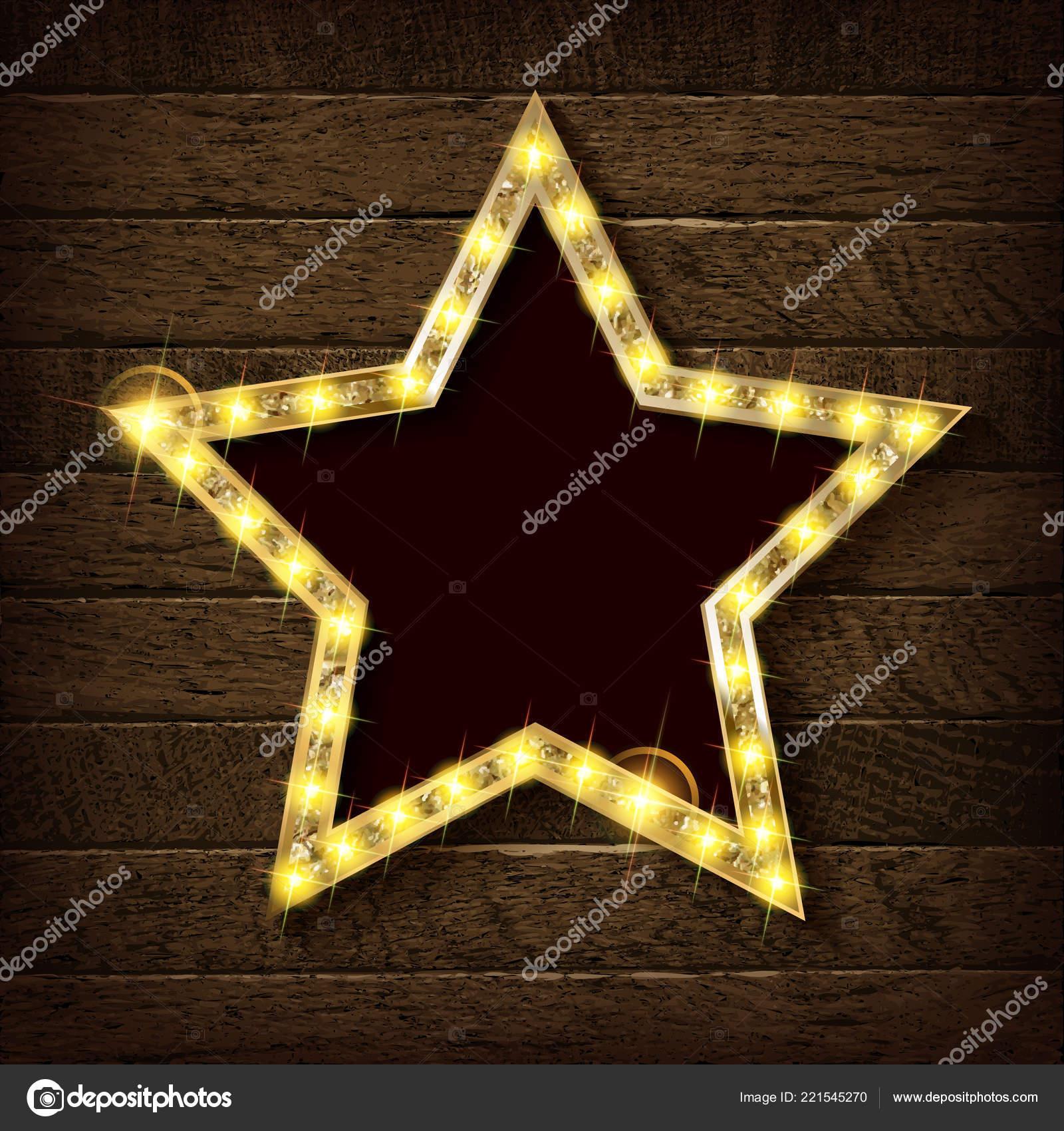 Grote Houten Sterren.Grote Houten Ster Met Een Groot Aantal Lichten Zijn Verlicht