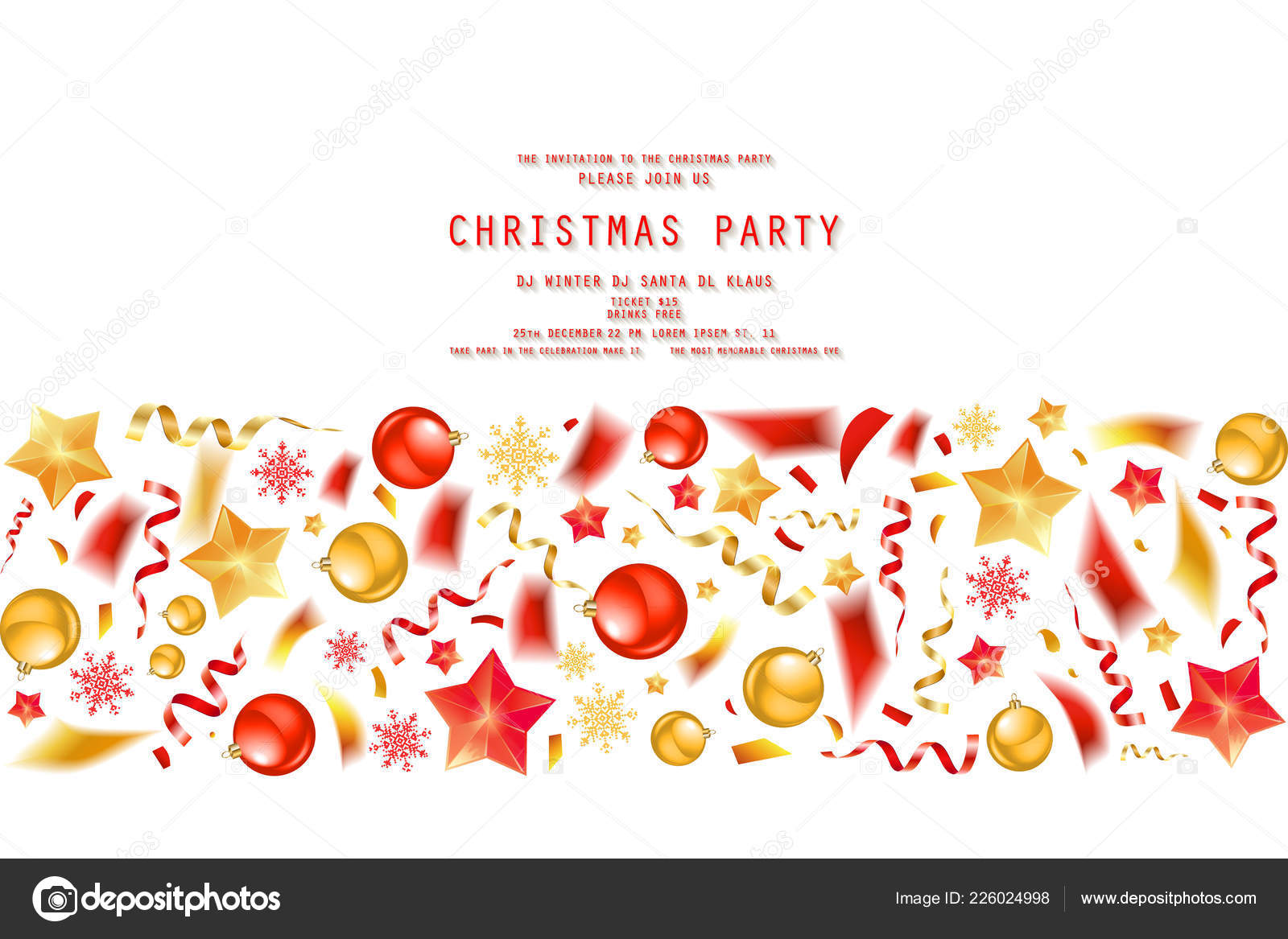 Christmas Party Dinner Invitation Poster Flyer Greeting Card