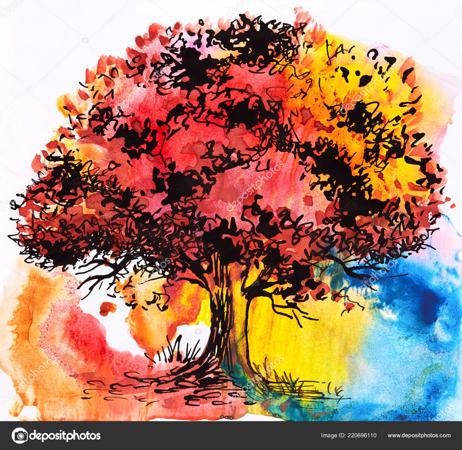 abstrakte herbst bäume aquarell — stockfoto © max5799
