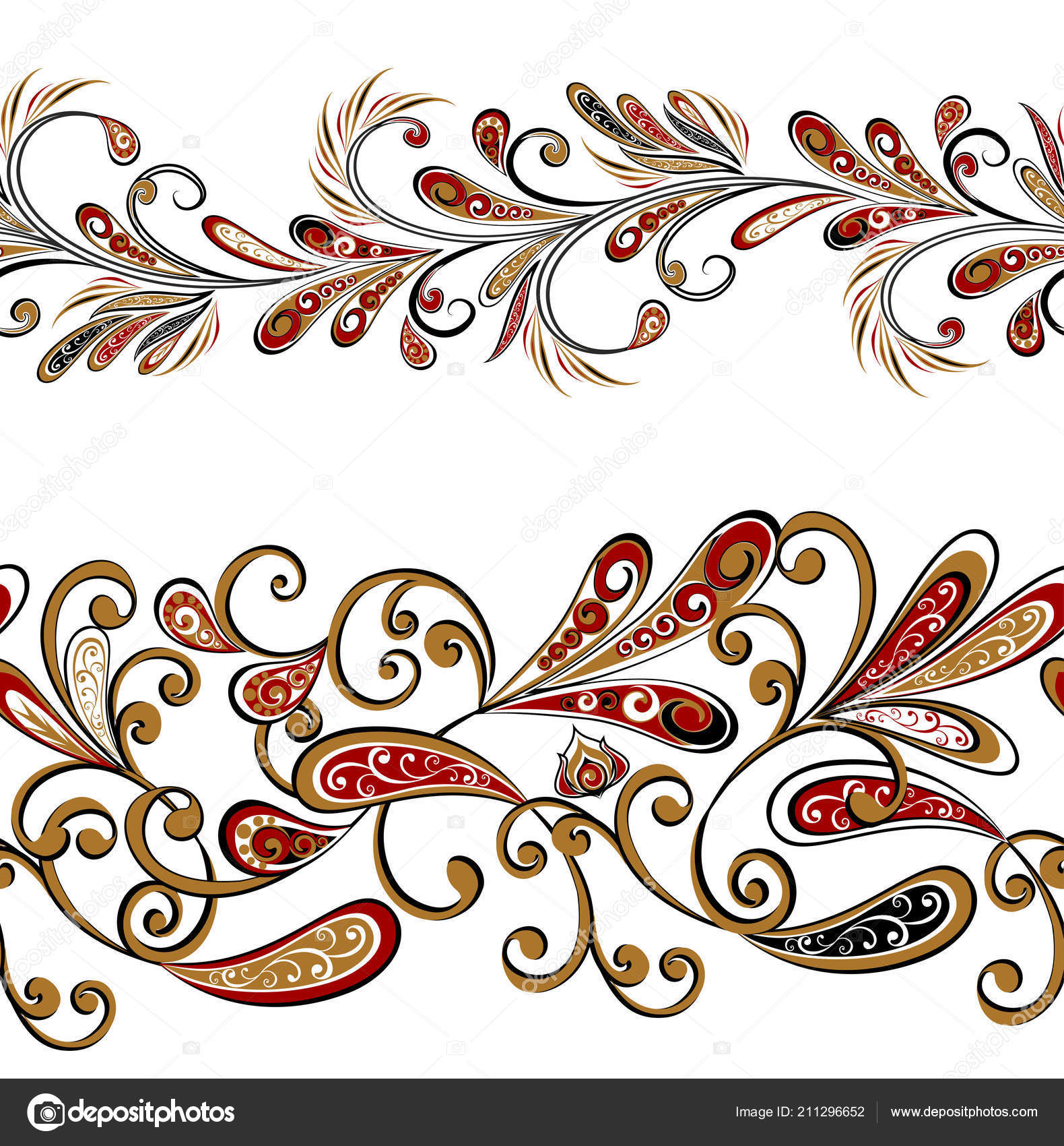 seamless vintage borders traditional east style ornamental floral