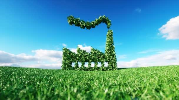 Eco přátelské průmyslu klip. 3D vykreslování zelená továrna ikony na čerstvý jarní louku s modrou oblohou v pozadí.