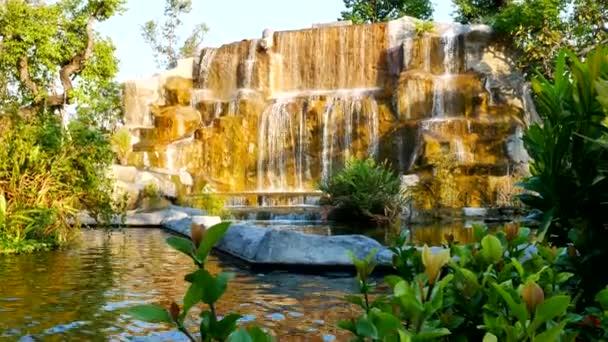 waterfall in garden nature background