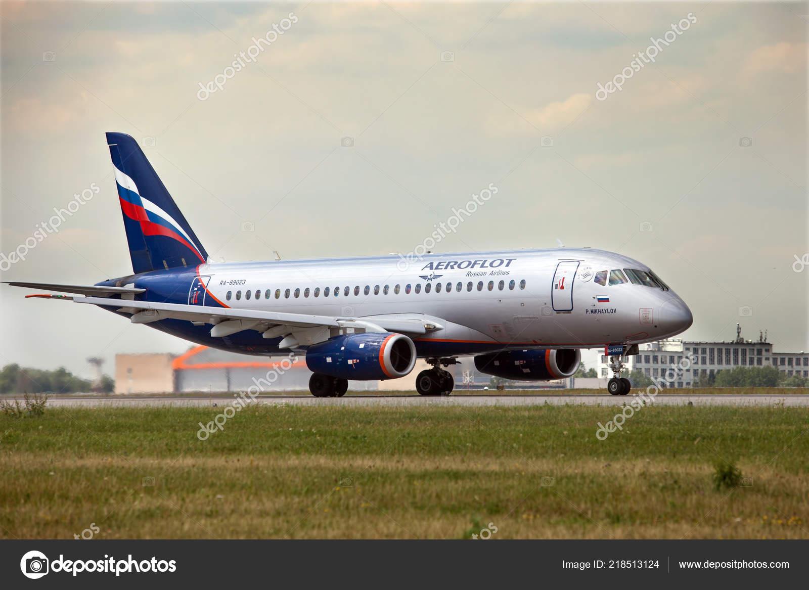 Moscow Russia June 2018 Airplane Ssj 100 Aeroflot Runway