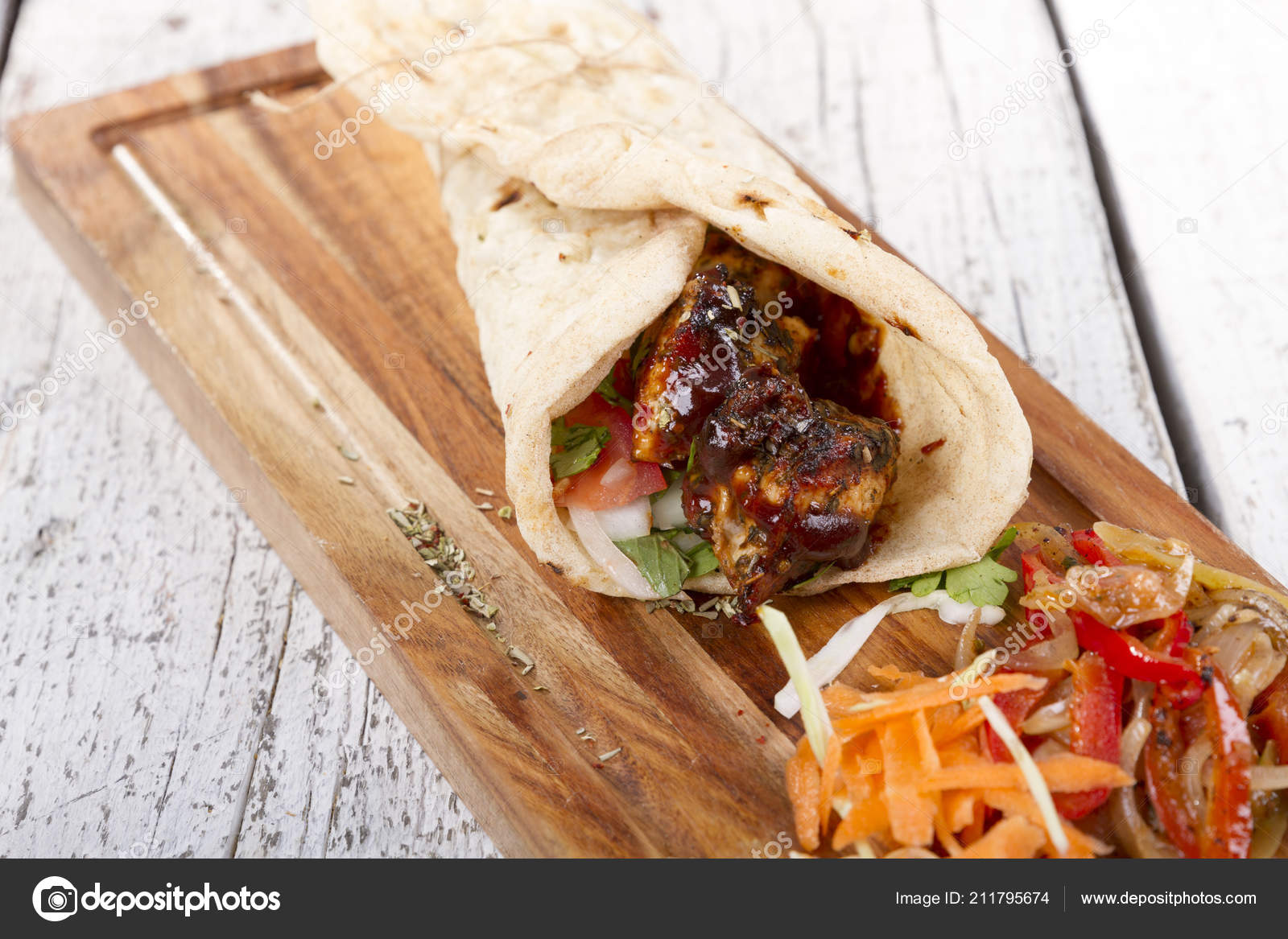 Turkish Arabic Traditional Ramadan Grilled Chicken Kebab Roll Wrap Stock Photo Image By C Nadirkeklik 211795674