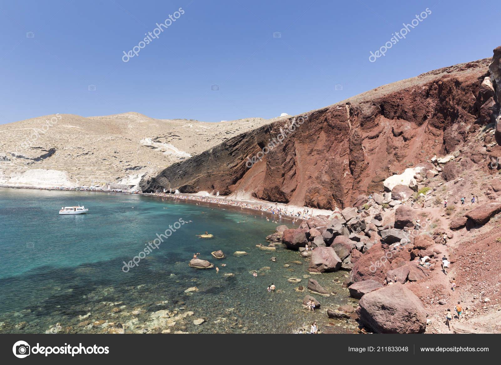 Santorini Greece August 2017 Red Beach Santorini Arguably