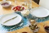 Fotografie Detailní zobrazení tabulky s různými vařená jídla