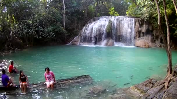 KANCHANABURI THAILAND:JANUARY 7.2018:Erawan Waterfall, Erawan National Park in Kanchanaburi, Thailand