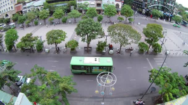 HOJIMIN CITY, VIETNAM- JUNE 26, 2016: Top view of road in Hojimin City , Vietnam (by fisheye lens)