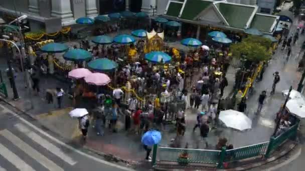 The Erawan Shrine at Ratchaprasong Intersection in Bangkok, Thailand.