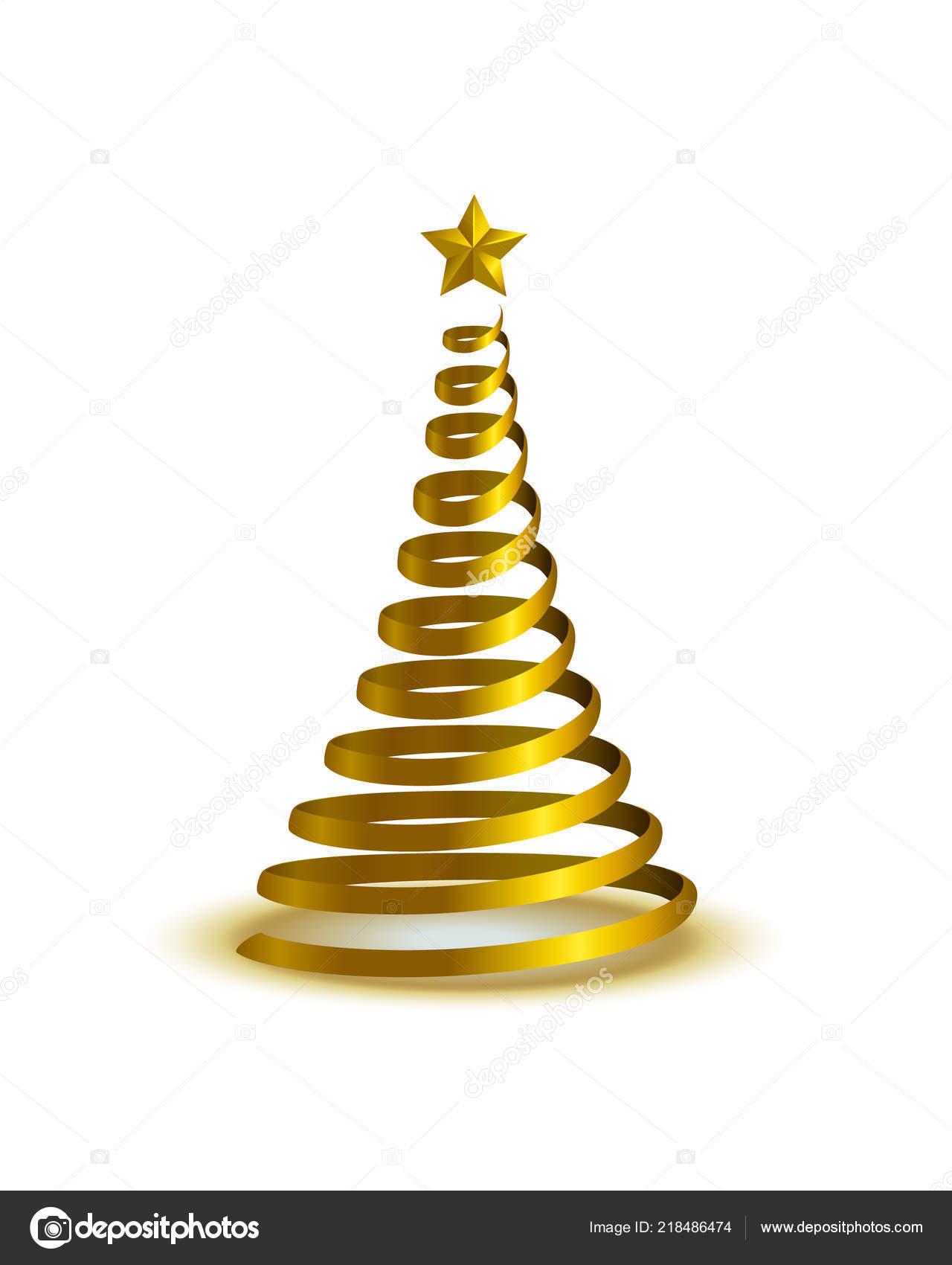 Vector Illustration Spiral Golden Christmas Tree Stock Vector
