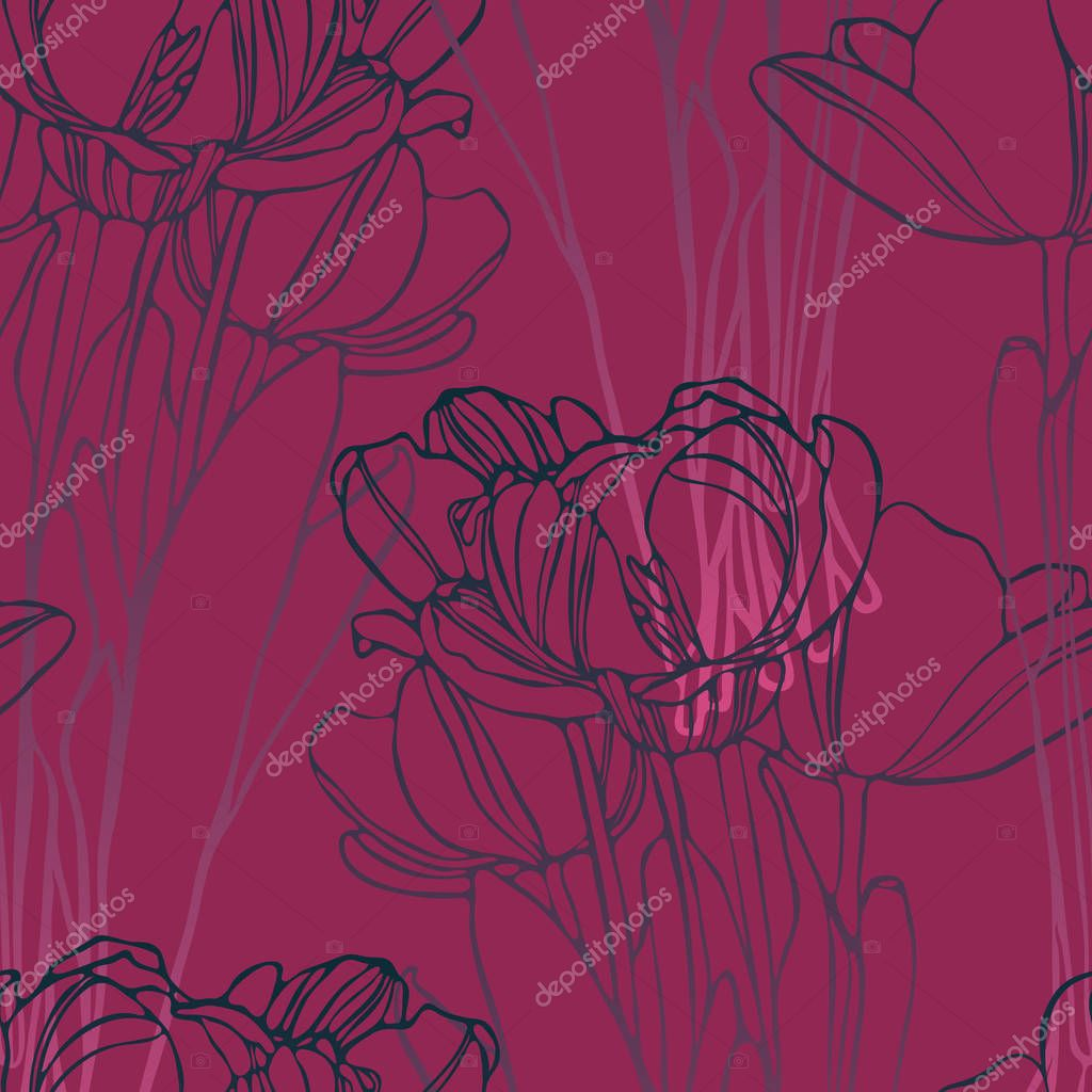 Seamless pattern with with stylized flowers. Can be used for textile, stationary, backgrounds and wallpaper.