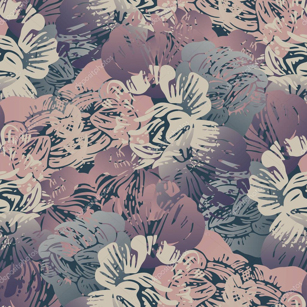 Beautiful botanical vector with flowers peonies.Seamless pattern with with stylized flowers. Can be used for textile, stationary, backgrounds and wallpaper.