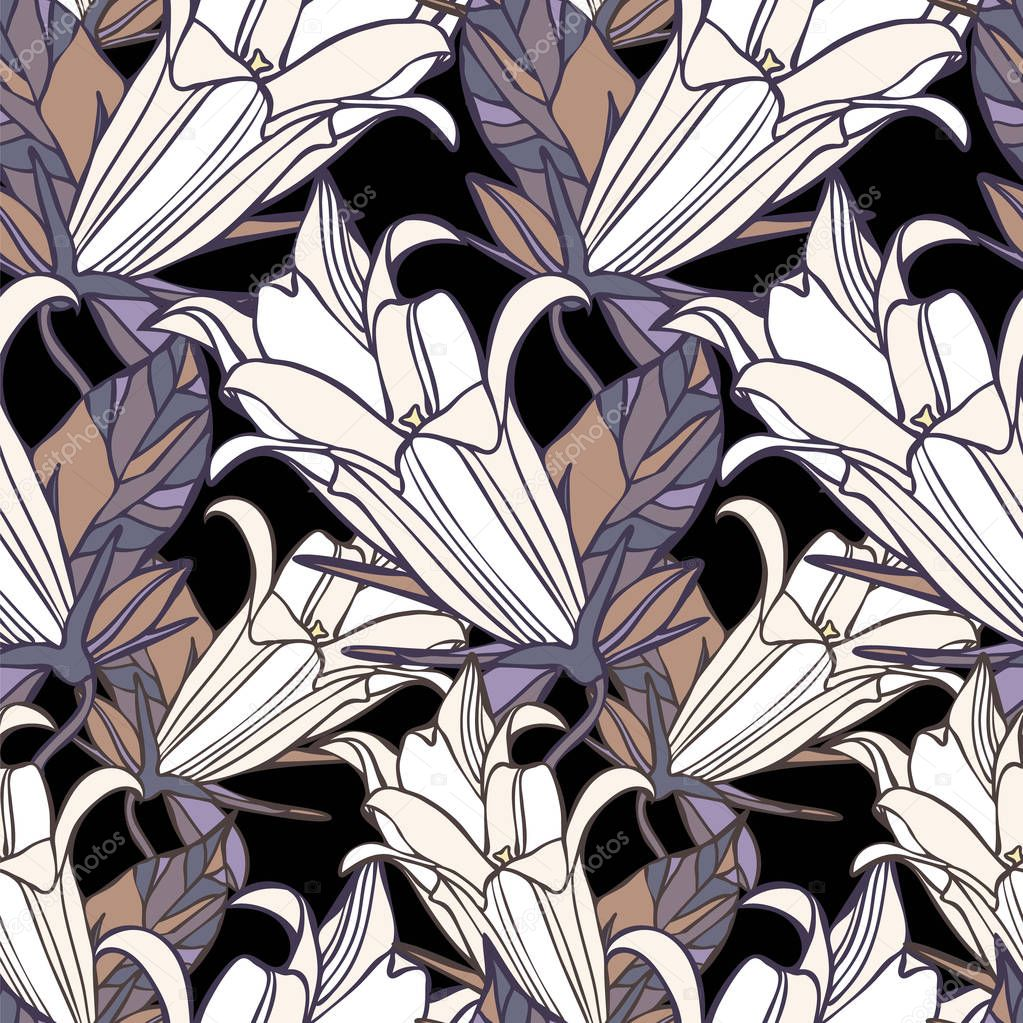 Beautiful botanical vector with flowers lily.Seamless pattern with with stylized flowers. Can be used for textile, stationary, backgrounds and wallpaper.