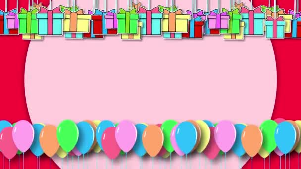 2D animation of multicolored colorful gift boxes and balloons hanging in the air on a red background. Copy space