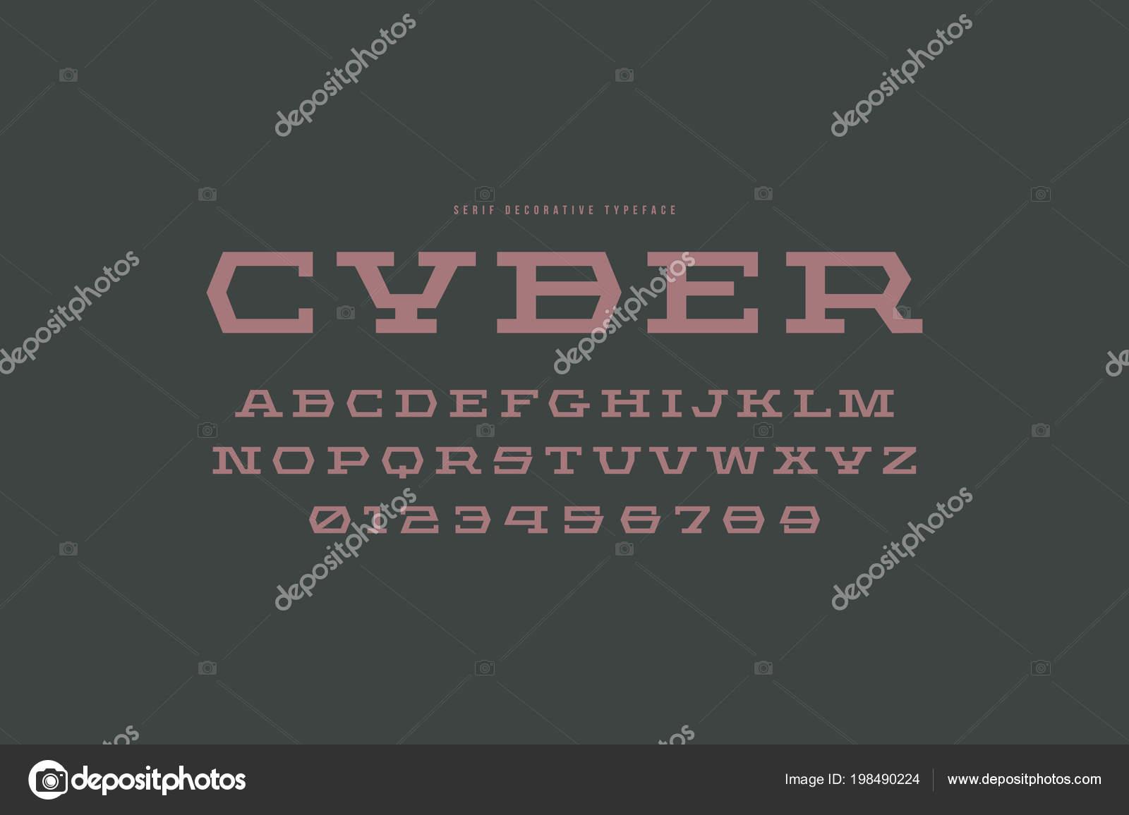 94af546f9 Fonte com serifa laje geométrica no estilo de esporte. Letras e números  para Sci-Fi