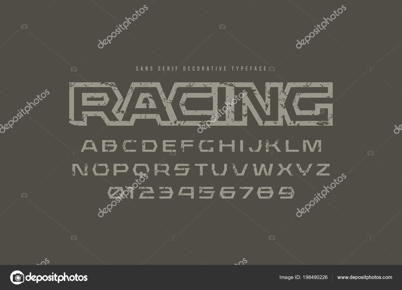 5c2d9707e Fontes geométricas sem serifa no estilo esporte. Design de logotipo e  título de corrida de letras e números com textura áspera para Sci-Fi
