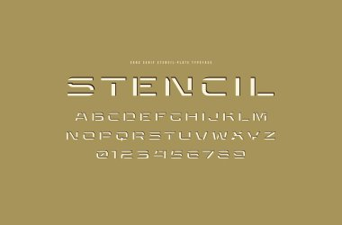 Extended stencil-plate sans serif font. Letters and numbers for logo and title design