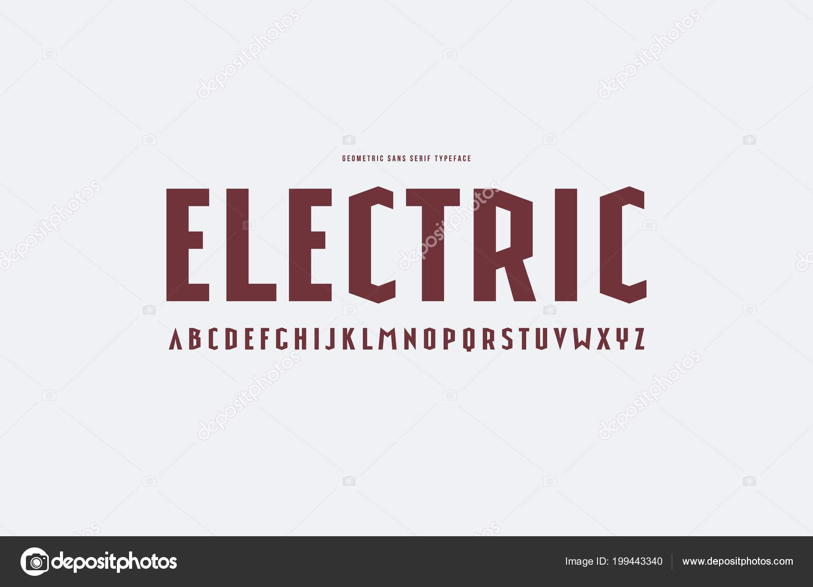 a0632a35d Fonte Estreitas Sans Serif Estilo Esporte Cartas Para Design Logotipo —  Vetores de Stock