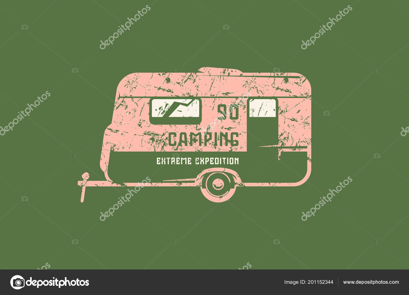 c2b3c760c Emblema con textura áspera para coche camping. Diseño gráfico para la  camiseta. Color impresión en fondo verde — Vector de ...