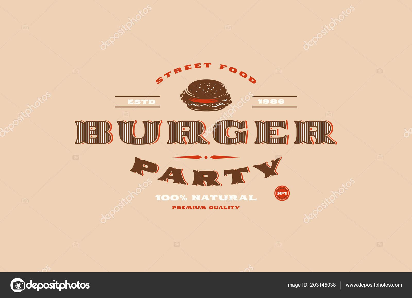 Plantilla Vector Stock Etiqueta Partido Burger Impresión Sobre Fondo ...