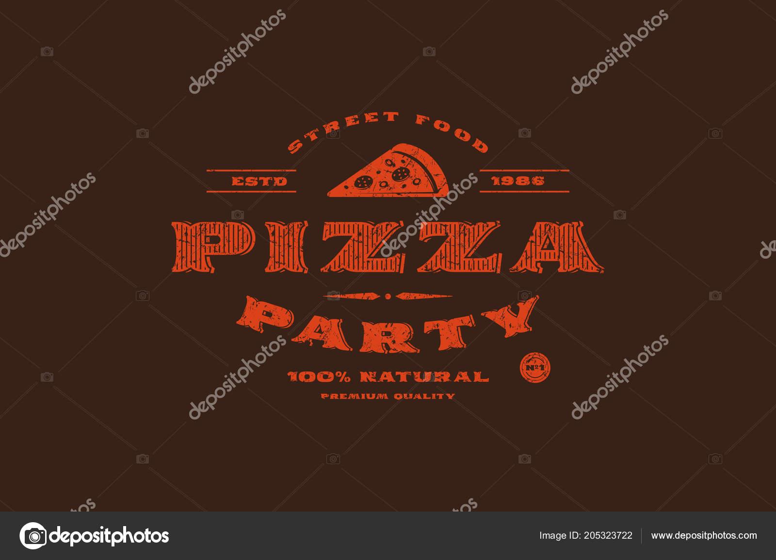 Plantilla Vector Stock Etiqueta Pizzería Diseño Con Textura Rugosa ...