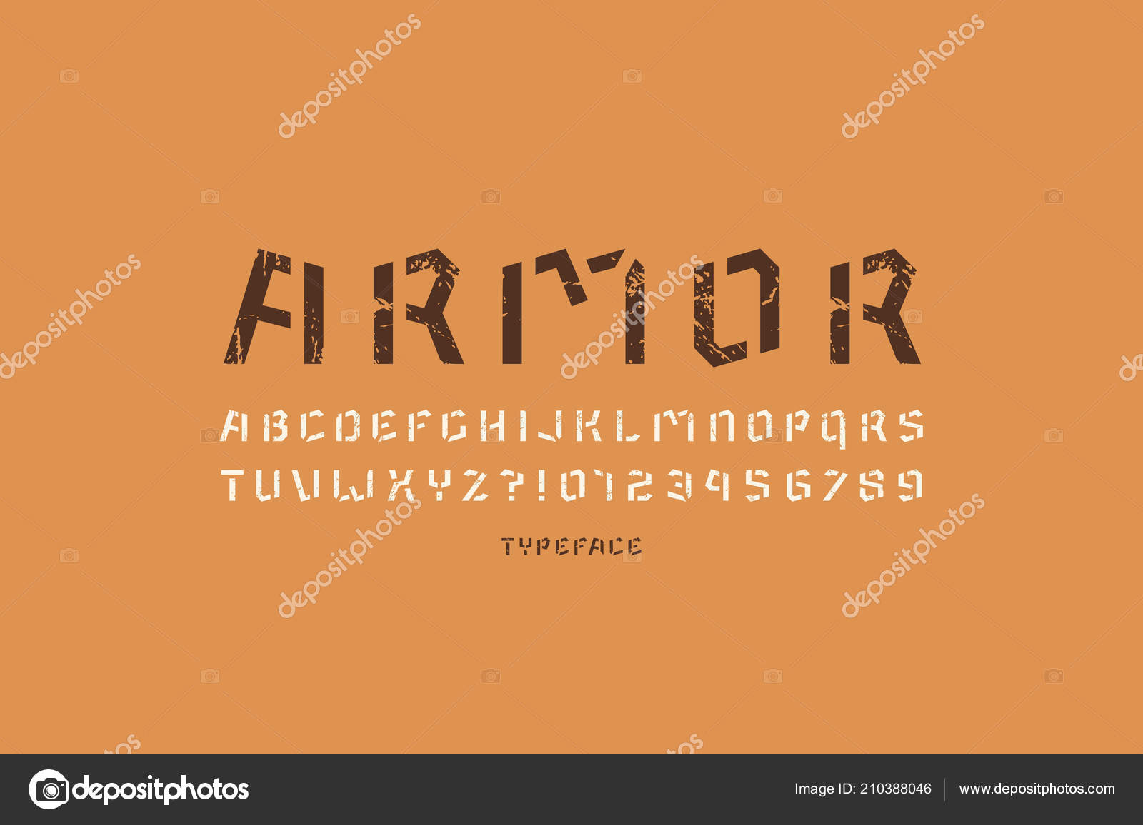 Stencil plate sans serif font military style letters numbers vintage stock vector