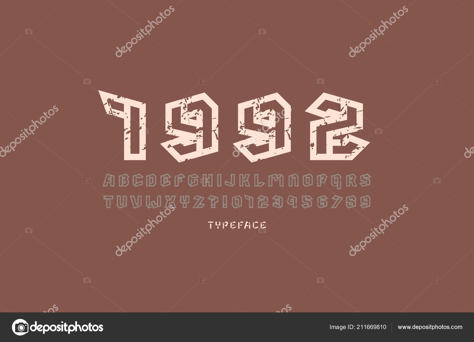 Hollow sans serif font military style letters numbers vintage texture stock vector