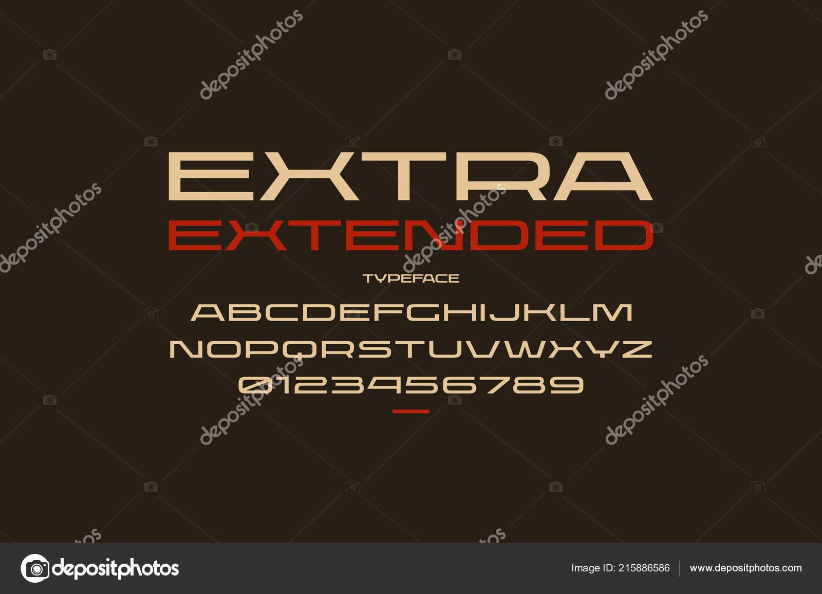 af3414ceb Fonte de ultra expandido sans serif em estilo esporte. Letras e números  para o design de logotipo e o emblema. Cor de impressão em fundo preto —  Vetor de ...