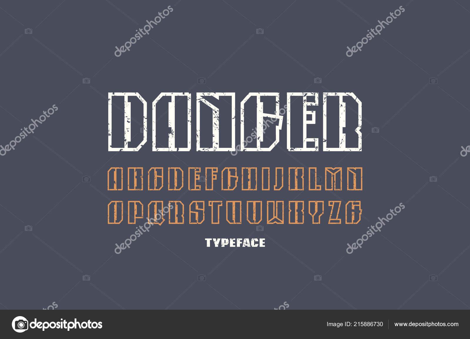 Narrow hollow sans serif font military style letters vintage texture stock vector