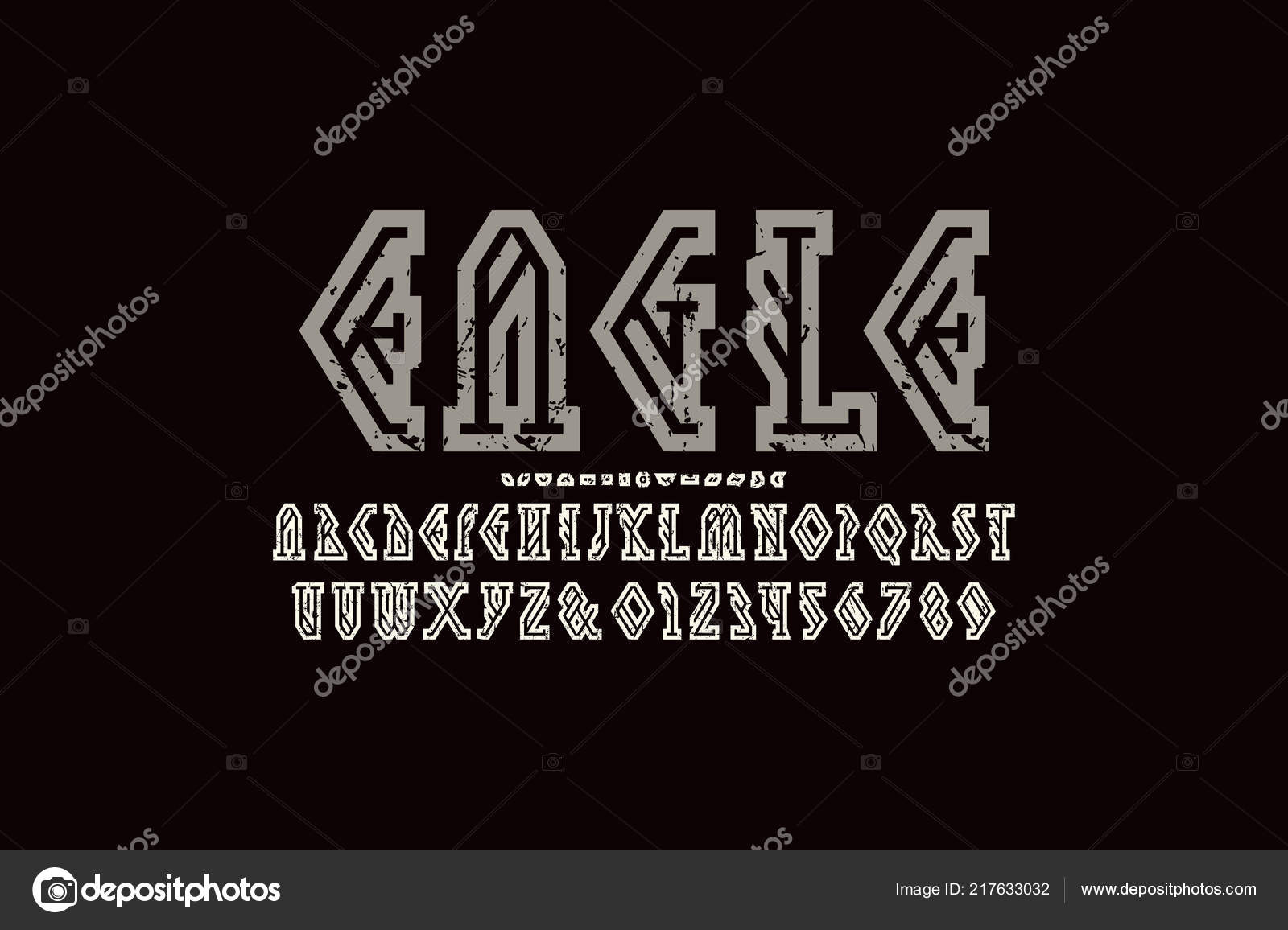 Decorative Geometric Hollow Serif Font Letters Numbers