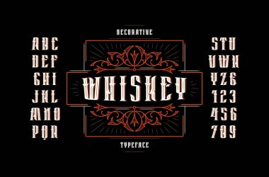 Stock vector sans serif narrow decorative font, alphabet, typography. Whiskey label template with ornamental frame. Letters and numbers for alcohol logo and label design