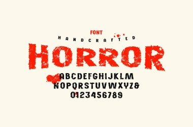 Stock vector sans serif handcrafted font, alphabet, typography. Letters and numbers with vintage texture for movie, halloween logo and headline design. Color print on white background