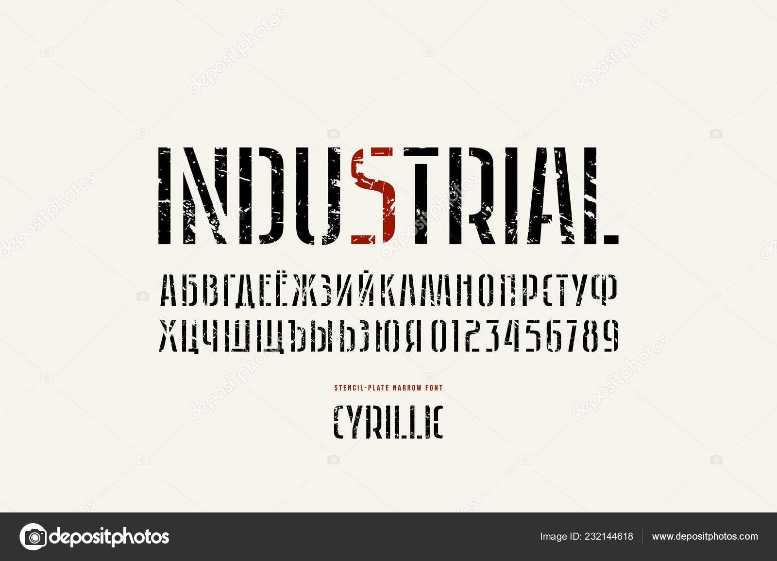 Stock Vector Stencil Plate Sans Serif Narrow Font Alphabet