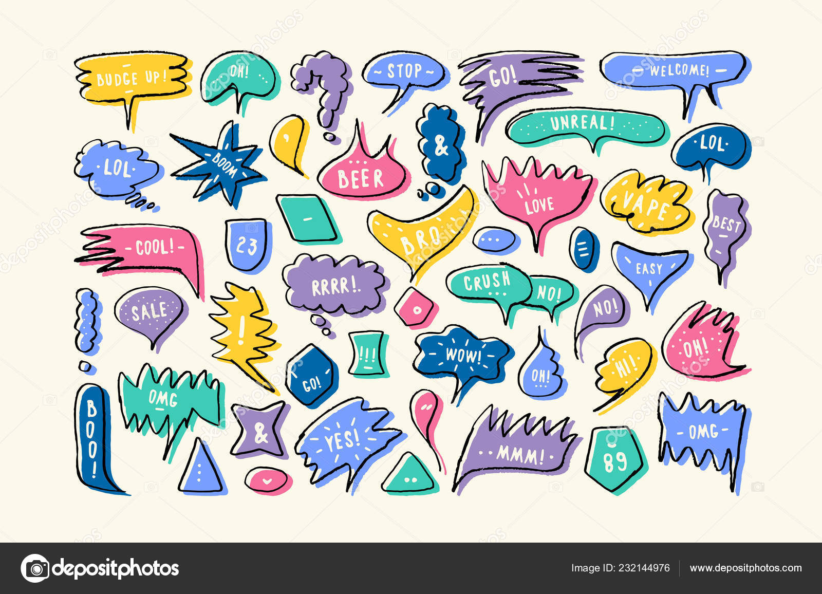 Set Speech Bubbles Hand Drawn Style Dialog Windows Phrases Yes