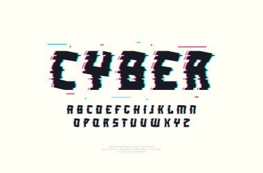 Stock vector decorative sans serif font with glitch distortion effect. Letters and numbers for sci-fi, cyber, trendy logo and headline design