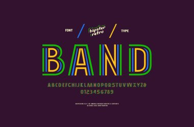 Stock vector decorative striped sans serif font, alphabet, typeface. Letters and numbers for disco, retro, pop art logo and headline design