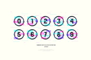 Stock vector decorative numbers in round frames. Design with glitch distortion effect. Color print on white background