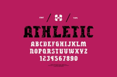 Stock vector serif font, alphabet, typeface. Letters and numbers with vintage texture for gym, workout, athletic logo and headline design