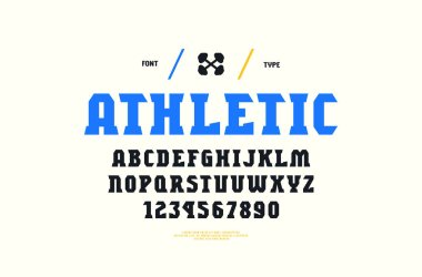 Stock vector serif font, alphabet, typeface. Letters and numbers for gym, workout, athletic logo and headline design. Print on white background