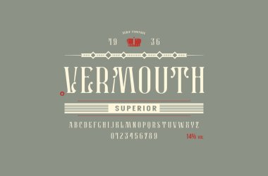 Stock vector narrow serif font, alphabet, typeface. Vermouth label template. Letters and numbers for alcohol logo and label design. Color print on gray background