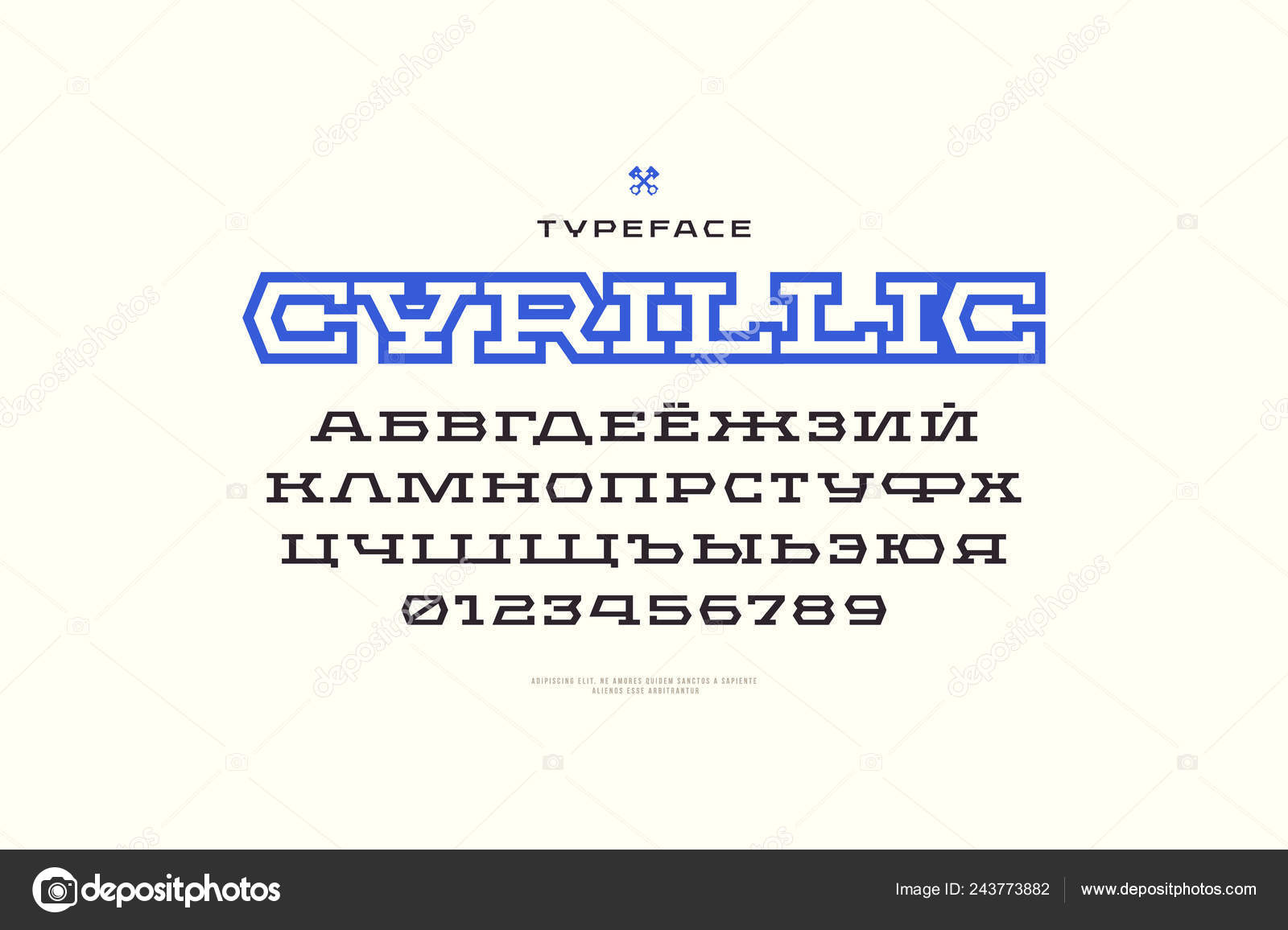 Geometric Slab Serif Font Sport Style Cyrillic Letters Numbers Logo