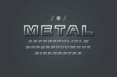 Silver colored and metal chrome hollow sans serif font. Letters and numbers for futuristic logo and emblem design
