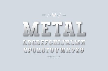 Stock vector silver colored and metal chrome slab serif font. Letters for sport logo and headline design. Color print on light gray background